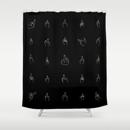 White Middle Fingers Shower Curtain