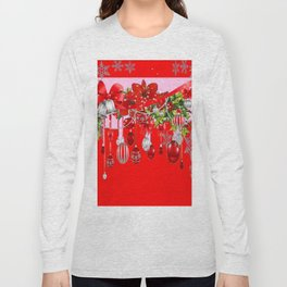 RED CHRISTMAS SNOW FLAKES & AMARYLLIS CHRISTMAS ORNAMENTS Long Sleeve T-shirt