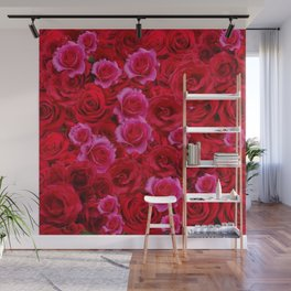 NATURE ART OF BED OF RED & PINK ROSE FLOWERS Wall Mural