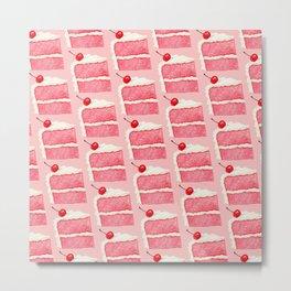 Cherry Cake Pattern - Pink Metal Print