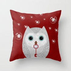 Christmas Owl Red Marble Throw Pillow