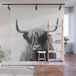 Highland cow | Black and White Photo Wall Mural