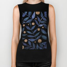 Watercolor berries and branches - indigo and beige Biker Tank