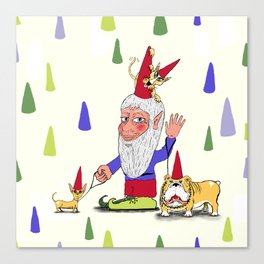 A gnome, two dogs, and a cat Canvas Print