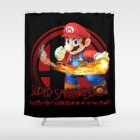 super smash bros Shower Curtains featuring Mario - Super Smash Bros. by Donkey Inferno