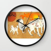okami Wall Clocks featuring Okami! by Caroline.Sweet