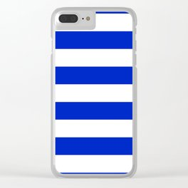 Cobalt Blue and White Wide Cabana Tent Stripe Clear iPhone Case