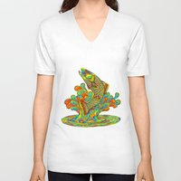trout V-neck T-shirts featuring Psychedelic Rainbow Trout by Rebecca Wang