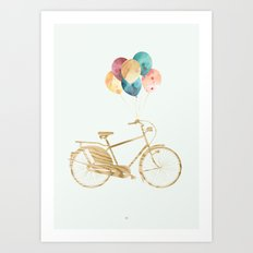 Bicycle & Balloons Art Print