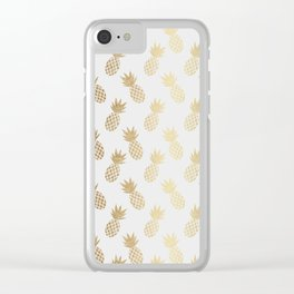 Gold Pineapple Pattern Clear iPhone Case
