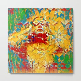 6759s-KMA The Woman in the Stained Glass Sensual Feminine Energy Emerging Metal Print