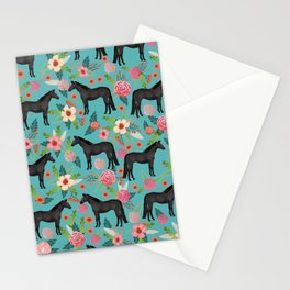 black beauty, mare, horse, horses, floral, florals, black horse, horse bedding, horse decor, cowgirl Stationery Cards
