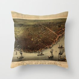 The city of New Orleans (1885) Throw Pillow