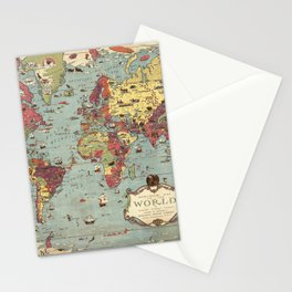 1931 Vintage Map of the World Stationery Cards