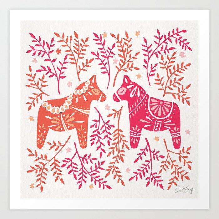 Swedish Dala Horses – Melon Palette Kunstdrucke