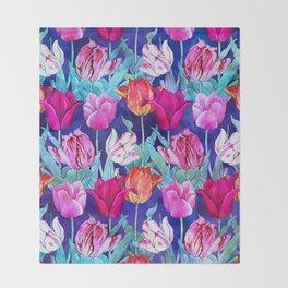 Tulips field Throw Blanket
