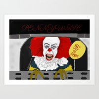 pennywise Art Prints featuring Pennywise AKA The Clown by ItalianRicanArt