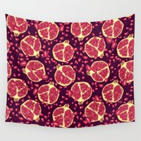 pomegranate Wall Tapestries featuring Pomegranate pattern. by smallDrawing