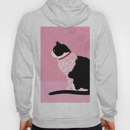 Typographic black and white lazy kitty cat on pink  #typography #catlover Hoody