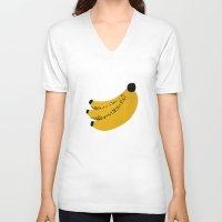 banana V-neck T-shirts featuring Banana by Roland Lefox