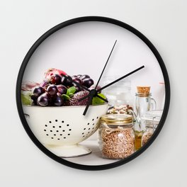 fruits, vegetables, grains, legumes and nuts Wall Clock
