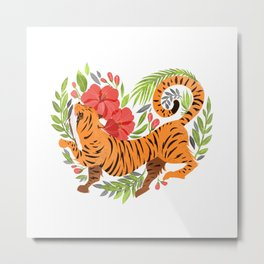 Tiger jungle heart Metal Print