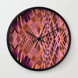 PRETTY VIOLET YELLOW SWEEPING LINE PATTERN Wall Clock