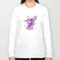 splatter Long Sleeve T-shirts featuring Hummingbird Splatter by Ludwig Van Bacon