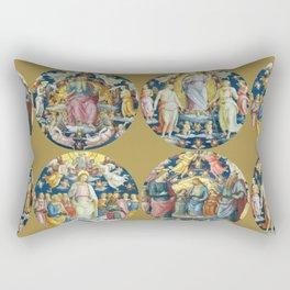 """Raffaello Sanzio da Urbino """"Ceiling Of The Stanza Dell Incendio Del Borgo"""" Rectangular Pillow"""