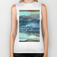 agate Biker Tanks featuring Navy Agate by Amie Amyotte