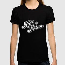 Hail Satan - Grayscale pop vintage letters T-shirt