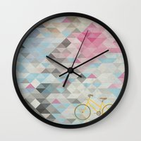 bicycles Wall Clocks featuring bicycles & triangles by sugi by saki