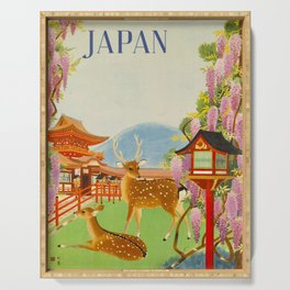 Vintage Mid Century Modern Japan Travel Poster Deer Red Pagoda Wisteria Garden Serving Tray
