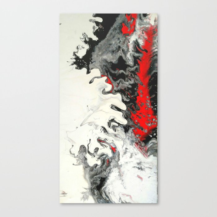 Black Red White Fluid Marble Painting Abstract Art Canvas Print By Colorflowcreations