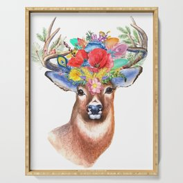 Deer with flowers Serving Tray