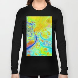 Emerging Galaxies – Abstract Teal & Lime Currents Long Sleeve T-shirt