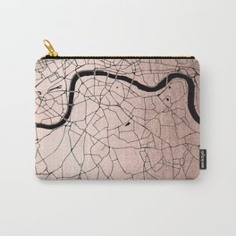 London Rosegold on Black Street Map Carry-All Pouch