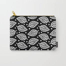 Mid Century Modern Falling Leaves Black and White Carry-All Pouch