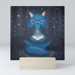 Reading Blue Wolf Mini Art Print