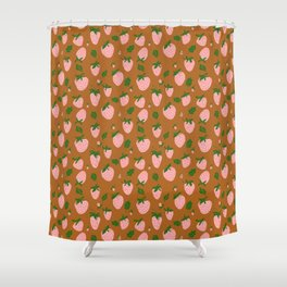 strawberries - pink on umber Shower Curtain