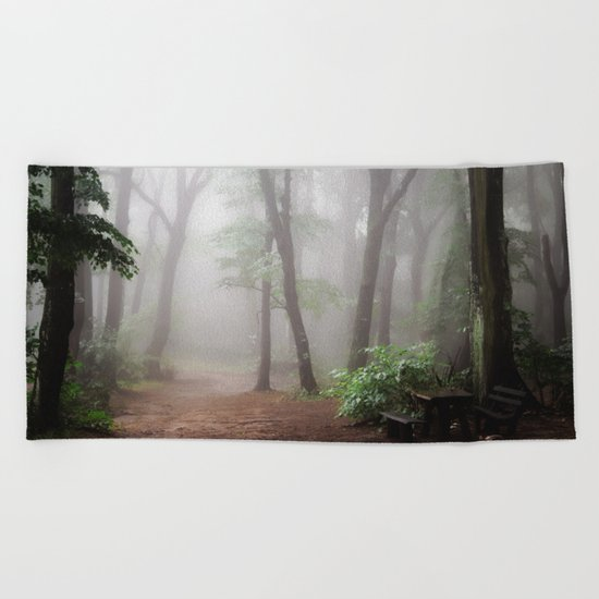 Misty Woods #adventure #photography Beach Towel