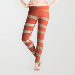 Simply Drawn Stripes in White Gold Sands on Deep Coral Leggings
