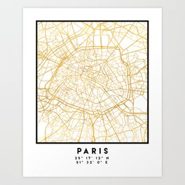 PARIS FRANCE CITY STREET MAP ART Art Print