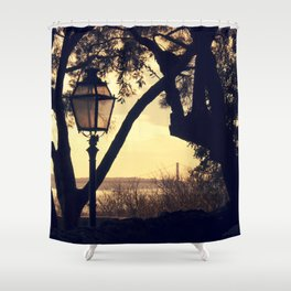 Sunset Silhouette: Latern and Lisboa Shower Curtain