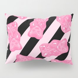 Jelly Beans & Gummy Bears Pattern - Pink and Black Pillow Sham