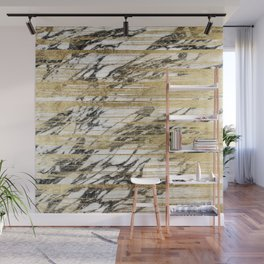 Chic Gold Brushstrokes on Black White Marble Wall Mural