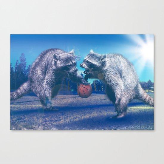 Racoon Basketball Game Canvas Print