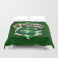 slytherin Duvet Covers featuring Slytherin Crest by AriesNamarie