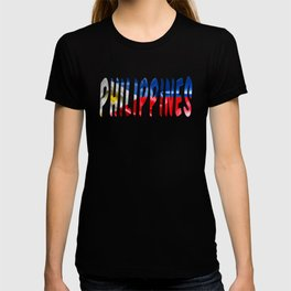 Philippines Word With Flag Texture T-shirt