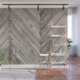 Herringbone Weathered Wood Texture Wall Mural